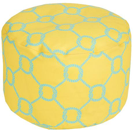 Surya Mod Knot Snapdragon Yellow Round Pouf Ottoman