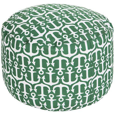 Surya Anchors Jelly Bean Green Round Pouf Ottoman