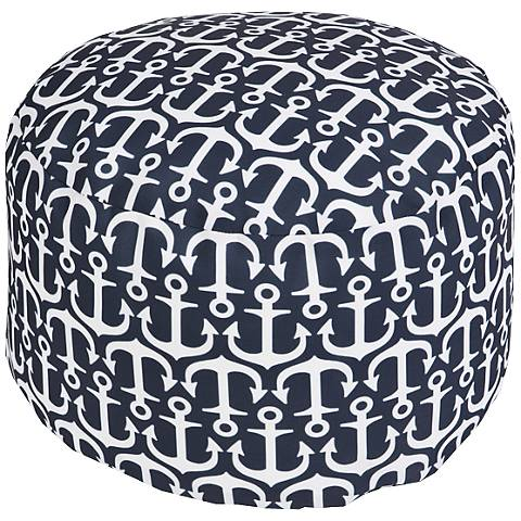 Surya Anchors India Ink Navy Round Pouf Ottoman