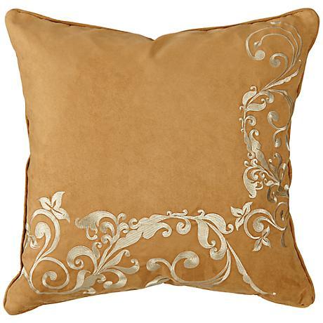 "Floral Vine Fawn Brown 18"" Square Decorative Pillow"
