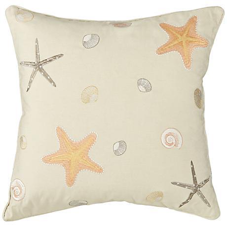 "Natural Starfish 18"" Square Down Throw Pillow"