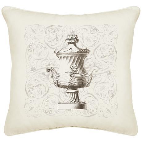 """Urn Cream Canvas 18"""" Square Pillow"""