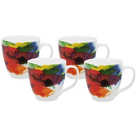 """""""On Color!"""" Porcelain Mugs Set of 4"""
