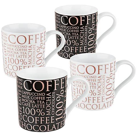 Rose Gold 100 Percent Coffee 4-Piece Porcelain Mug Set