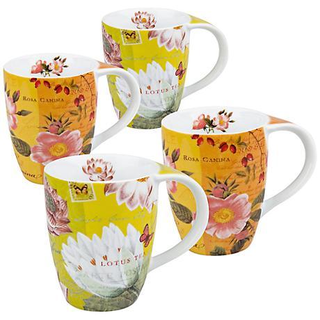Tea Flowers Lotus and Fruit 2-Piece Porcelain Mug Set
