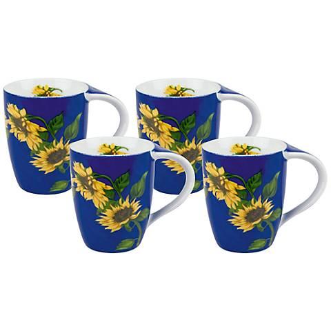 Sunflower on Blue Porcelain Mugs Set of 4