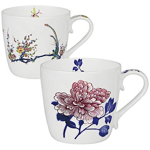 Butler Collection Peony and Bird 2-Piece Bone China Mug Set