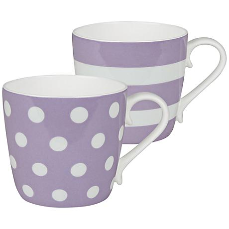 Lilac Purple Dots and Stripes 2-Piece Porcelain Mug Set
