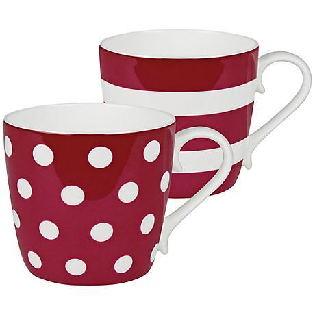 Ruby Red Dots and Stripes 2-Piece Porcelain Mug Set
