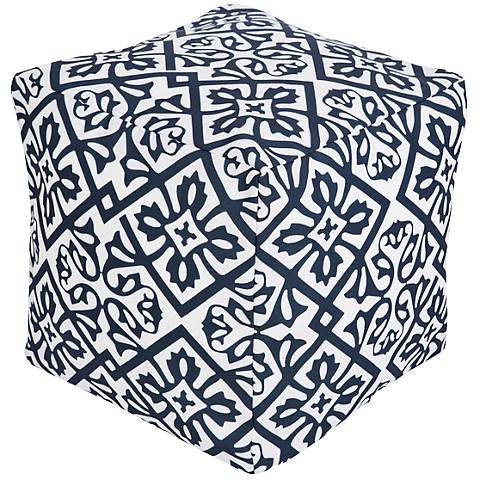 Surya Lattice Bijou Blue Cobalt Square Pouf Ottoman