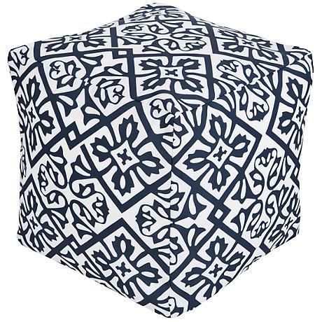 Surya Lattice Bijou Blue Cobalt Square Pouf Ottoman