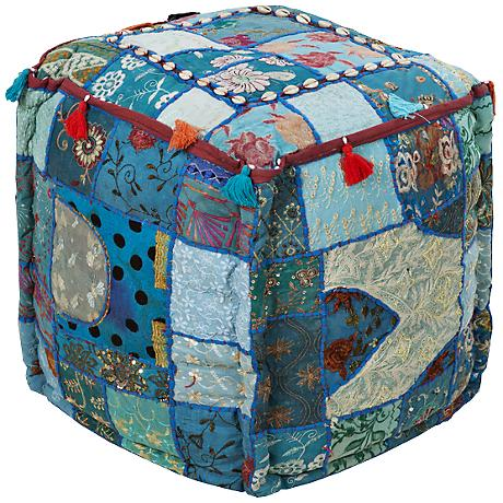 Surya Exotic Patchwork Brittany Blue Teal Pouf Ottoman