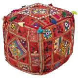 Surya Exotic Patchwork Jester Red Cotton Pouf Ottoman