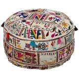 Surya Exotic Patchwork Multi-Color Cotton Pouf Ottoman