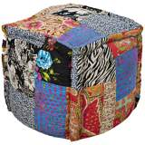 Surya Exotic Patchwork Multi-Color Pouf Ottoman