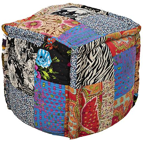 Surya Exotic Patchwork Multi-Color Pouf Ottoman