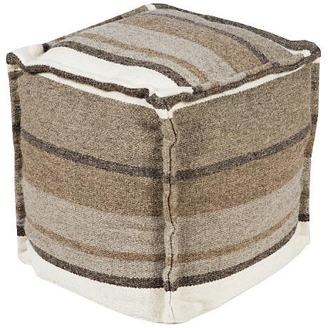 Surya Elephant Skin Gray Striped Wool Pouf Ottoman