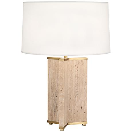 Robert Abbey Fineas Travertine and Brass Table Lamp