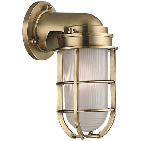 """Hudson Valley Carson 10"""" High Aged Brass Wall Sconce"""