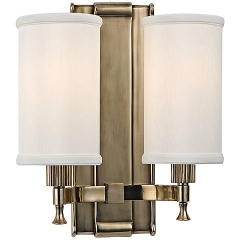 "Palmdale 12"" High 2-Light Aged Brass Wall Sconce"