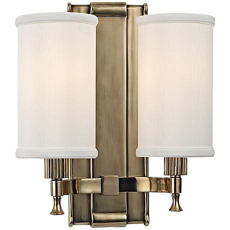 "Palmdale 12"" High 2-Light Aged Brass Wall Sconce"