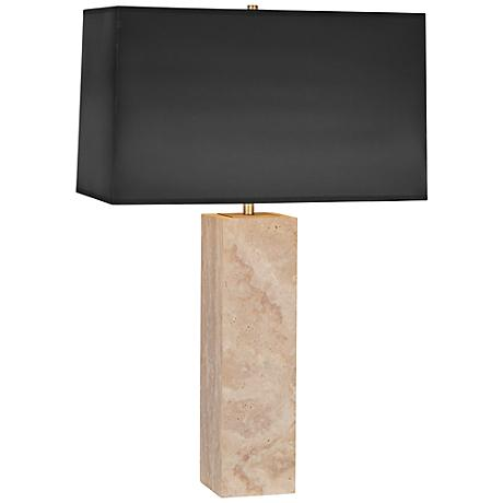 Robert Abbey Wilma Black Parchment Travertine Table Lamp