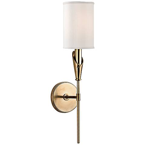"""Hudson Valley Tate 19 3/4"""" High Aged Brass Wall Sconce"""
