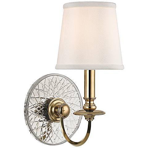 """Hudson Valley Yates 14"""" High Aged Brass Wall Sconce"""