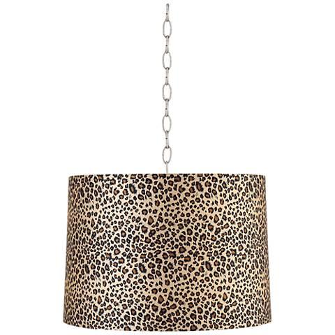 "Leopard Print 16"" Wide Brushed Steel Shaded Pendant Light"