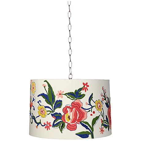 """Embroidered Floral 16"""" Wide Brushed Steel Shaded Pendant"""