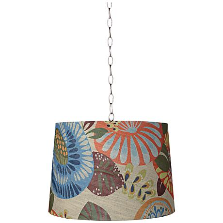 "Tropic Drum 16"" Wide Brushed Steel Shaded Pendant Light"