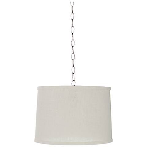 "Cream Burlap 14"" Wide Brushed Steel Shaded Pendant Light"