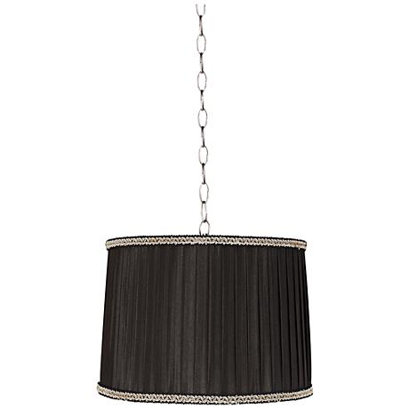 "Pleated Black Drum 14""W Brushed Steel Shaded Pendant Light"