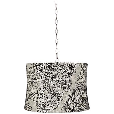 """Velveteen Chrysanthemum 16""""W Steel Shaded Pendant Light"""