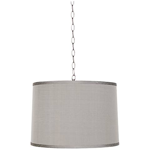 "Platinum Gray 16"" Wide Brushed Steel Shaded Pendant"