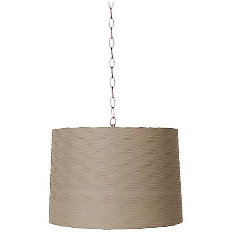 "Taupe Wave Pleat 16"" Wide Brushed Steel Shaded Pendant"