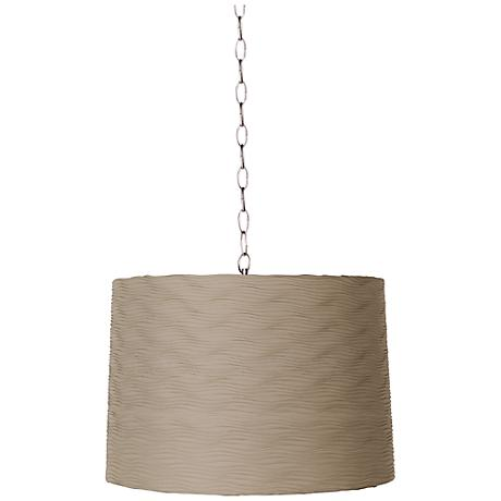 """Taupe Wave Pleat 16"""" Wide Brushed Steel Shaded Pendant"""