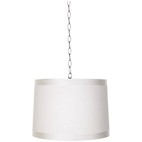 "Off-White Drum 14"" Wide Brushed Steel Shaded Pendant"