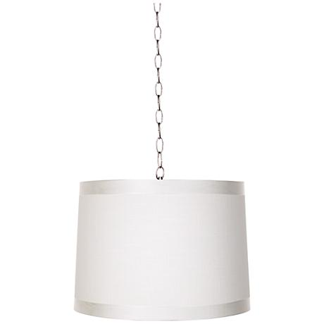 """Off-White Drum 14"""" Wide Brushed Steel Shaded Pendant"""