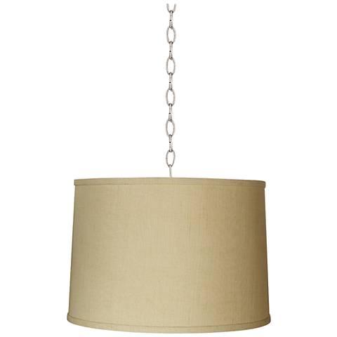 "Herbal Linen Drum 16"" Wide Brushed Steel Shaded Pendant"