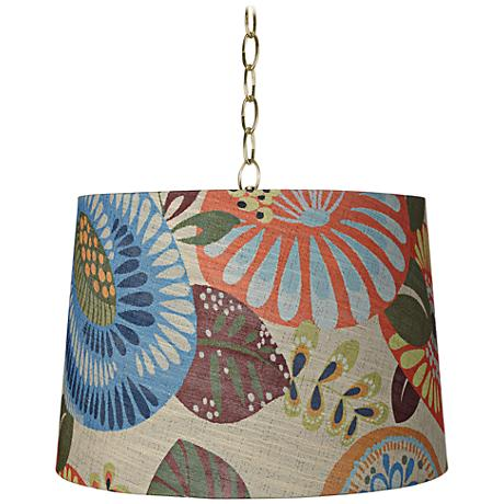 "Tropic Drum 16"" Wide Antique Brass Shaded Pendant Light"