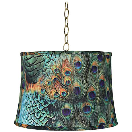 """Peacock Print 16"""" Wide Antique Brass Shaded Pendant Light"""