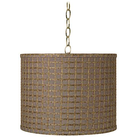 "Brown Tan Weave 14""W Antique Brass Shaded Pendant Light"
