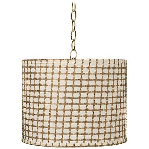 "Cream Tan Weave 14""W Antique Brass Shaded Pendant Light"