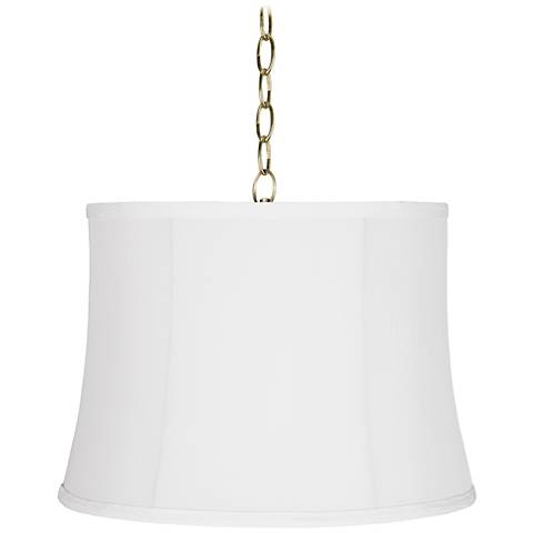 """Wavy White 16"""" Wide Antique Brass Shaded Pendant Light"""