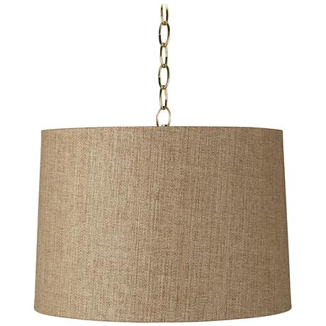 """Tan Woven 16"""" Wide Antique Brass Shaded Pendant Light"""