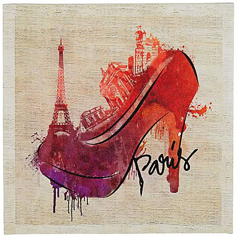 "Paris High Heel Skyline 20"" Square Canvas Wall Art"