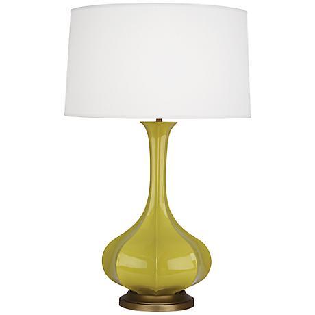 robert abbey pike citron ceramic and brass table lamp. Black Bedroom Furniture Sets. Home Design Ideas
