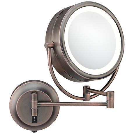 "Aptations NeoModern 9"" Wide Italian Bronze LED Wall Mirror"