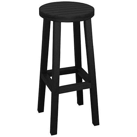 "Eastport 30"" Recycled Plastic Black Outdoor Barstool"